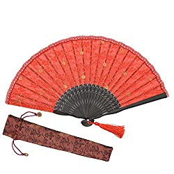 "OMyTea® ""Sexy Lace"" 8.66""(22cm) Women Hand Held Folding Fans with Bamboo Frame - With a Fabric Sleeve for Protection for Gifts - Chinese / Japanese Vintage Retro Style from OMyTea"
