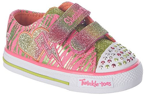 Skechers Kids 10365N Twinkle Toes Glamarazzi Tennis Shoe,Neon Pink/Lime,8 M Us Toddler
