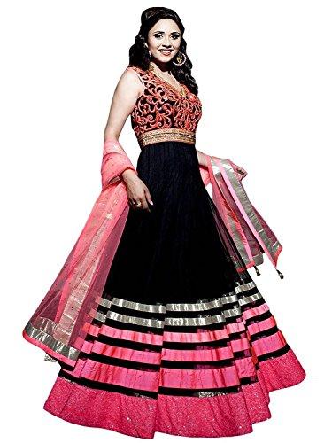 Unique-Fashion-Station-Womens-Georgette-Semi-Stitched-Anarkali-Salwar-Suit-BlackPink