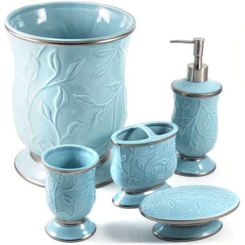 Saturday knight ltd seafoam blue ceramic 5 piece bathroom for Ceramic bathroom accessories sets