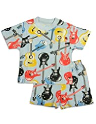 Saras Prints Infant Boys Short Sleeve Guitar Shortie Pajamas Light Blue