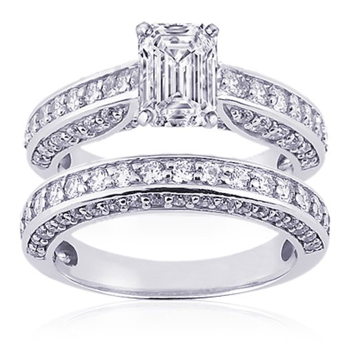 2 Ct Emerald Cut Diamond Wedding Rings PaveSet SI2 14k