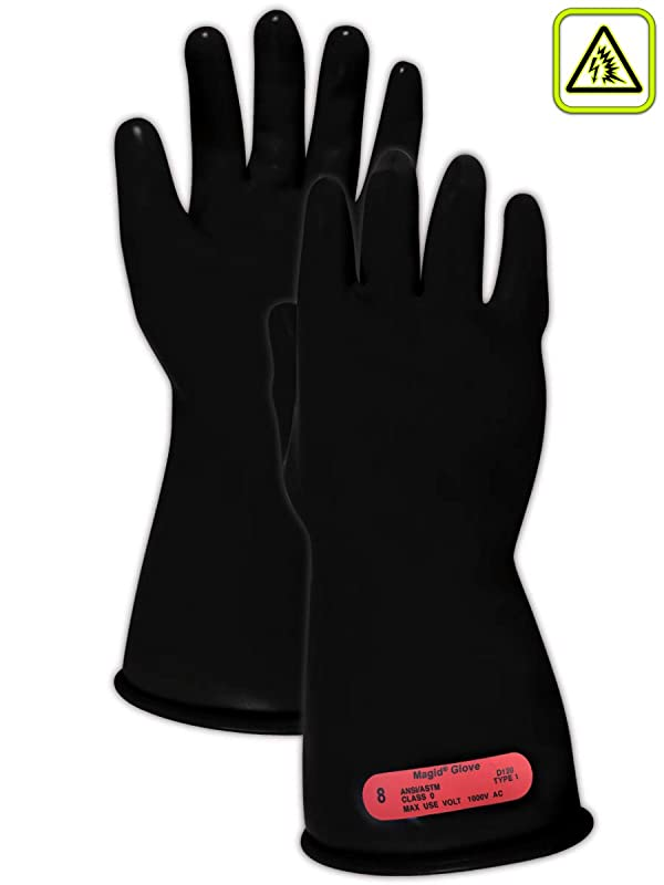 Magid Glove & Safety M011B7 A.R.C. Natural Rubber Latex Electrical Insulating Gloves with Straight Cuff, Class 0, Size 7, 11 Length, Black (1 Pair) (Color: Black, Tamaño: Size: 7 | 11 Long)