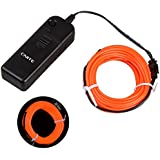 Onite® 16.4ft Orange Neon Glowing Strobing Electroluminescent EL Wire Light with Battery Pack Controller for Parties, Halloween, Automotive, Advertisement Decoration