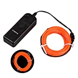Onite 16.4ft Orange Neon Glowing Strobing Electroluminescent EL Wire Light with Battery Pack Controller for Parties, Halloween, Automotive, Advertisement Decoration