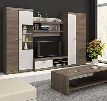 Letti e Mobili - Mobile soggiorno TV modello Cristel in colore tartufo/bianco con led