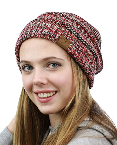 nyfashion101-exclusive-unisex-two-tone-warm-cable-knit-thick-slouch-beanie-cap-red-bg-bk-gy