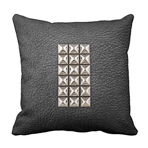 Mod Gold Pyramid Studs & Black Leather photo print Throw pillowcase 16*16