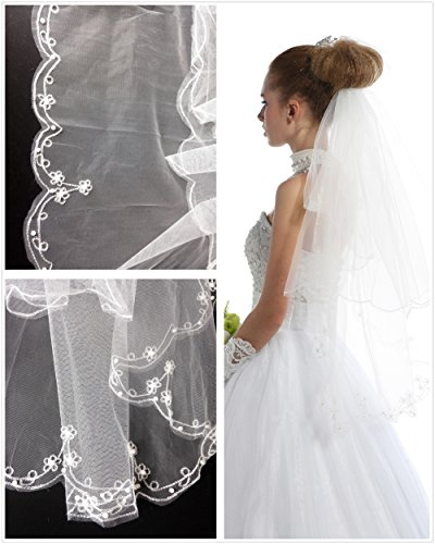 Passat Ivory Lace Embroidery Wedding Veils 2 Tier Short Bridal Veil with Pearls 01