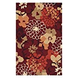 Surya Brentwood BNT-7691 Transitional Hand Hooked 100% Polyester Maroon 4' Round Floral Area Rug