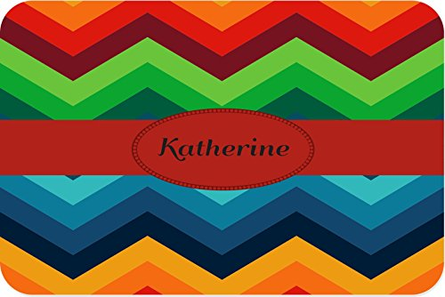 Rikki KnightTM Katherine Name on Fall Colors Chunky Chevron Small glass Cutting board