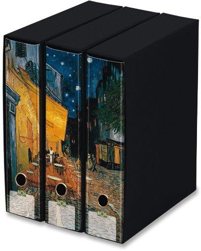 KAOS - Set da 3 raccoglitori ad anelli dorso 8 - TERRAZZA DEL CAFFE', VINCENT VAN GOGH - Misure Set: 26.8x35x29 cm