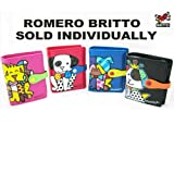New Romero Britto Small Wallet Dog Leather Coin Purse Black Pink Blue Red Nwt !!