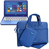Evecase HP Stream 11 Waterproof Extra Padded Carrying Pouch Bag with Mouse pad and Matching Accessories Case for HP Stream 11 11-d010nr Notebook 11.6 inch ultrabook laptop - Blue