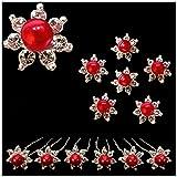 Lot De 6 Épingles Épingle Cheveux Pics Chignon - Coiffure Mariage Mariée Cérémonie danse - Fleur Cristal Blanc - Perle Rouge...