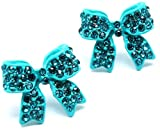 Adorable 3/4 Ribbon Bow Stud Earrings with Sparkling Teal Austrian Crystals for Girls Teens and Women