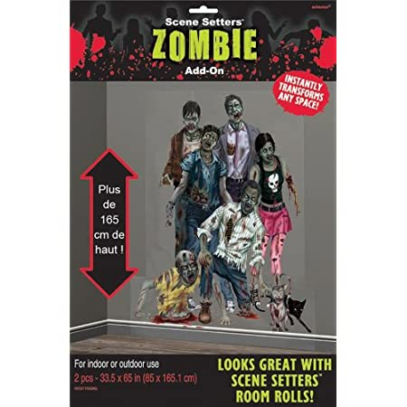 Transform a space indoors or outdoors for Halloween with this scene setters zombie add-on. Package contains two scene setter room rolls, 33.5 in. x 65 in. each, depicting a group of zombies.