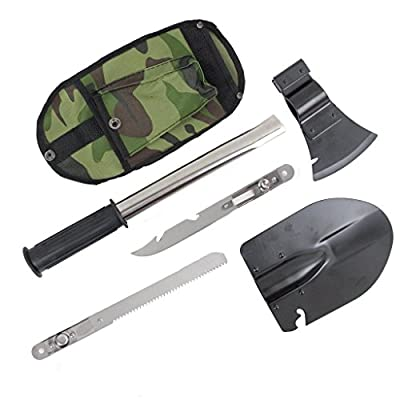 MinoCat Outdoor 4-in-1 Multifunctional Emergency Camping Rescure Survival Tools Kit Entrenching Tools Folding Shovel Head, Axe Head, Saw Head, Knife Head, Universal Handle, Nylon Carrying Case from MinoCat