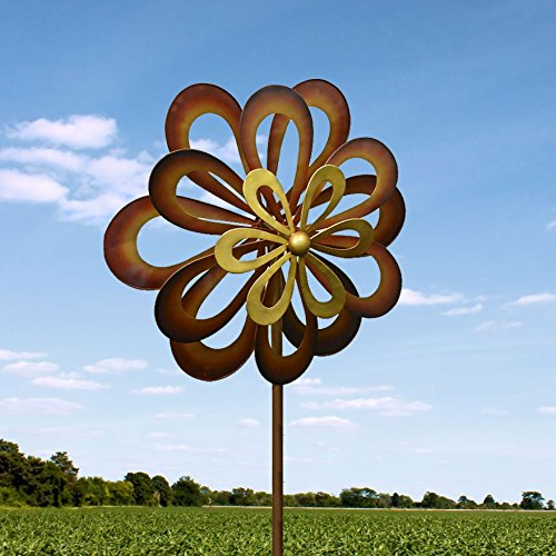 Kinetic Wind Sculpture Modern Art Triple Flower Spinner Metal Garden Outdoor Pinwheel
