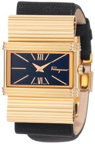 Ferragamo Women's F69MBQ5099 S009 Renaissance Gold Plated Black Dial Genuine Leather Watch