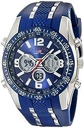 U.S. Polo Assn. Sport Men's US9284 Blue and Silver-Tone Analog/Digital Chronograph Watch