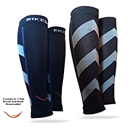 Rikedom Sports Calf Sleeves Guard Socks, Black, 1 Pair