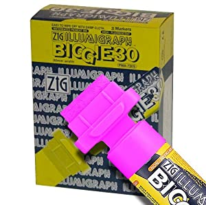 Zig Illumigraph High Fluorescent Wet Erasable BIGGIE 30mm Pink Paint Markers - Box of 3