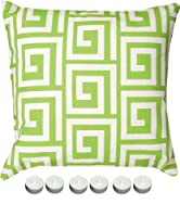 "Manual Woodworkers SLGKGW Green Greek Key 18"" x 18"" Climaweave Outdoor / Indoor Pillow with 6-Pack of Tea Candles by Manual Wood Workers & Weavers"