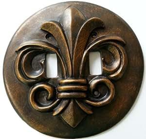 Round Fleur De Lis Bronze Double Toggle Light Switch Plate