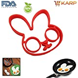 KARP™ Rabbit Shape Silicone Fried Egg Mold Pancake Rings, Non Stick Bakeware Accessories Kitchen Toolsm,BPA Free...