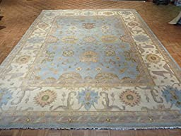 12 x 15 HAND KNOTTED LIGHT BLUE OUSHAK ORIENTAL RUG VEGETABLE DYES G1393