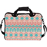 "Snoogg Light Pink And Blue Aztec 14"" 14.5"" 14.6"" Inch Laptop Notebook SlipCase With Shoulder Strap Handle Sleeve Soft Case With Shoulder Strap Handle Carrying Case With Shoulder Strap Handle For Macbook Pro Acer Asus Dell Hp Sony Toshiba"
