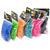 """Rainbow Loom Bands Rubber 7200 Pieces, 12 Different Colors Amazing Price Plus 300 """"S"""" Clips"""