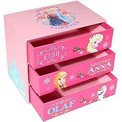 p:os 25203 - Schmuckkasten mit 3 Schubfächern Disney Frozen, 14 x 9 x 12 cm