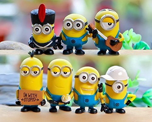 Blue Elep / 7pcs/lot Despicable Me 3 Minions Figures Toys 3D Eye Mini Minion PVC Action Figure Toys Anime Figurines Model Toy Gift for Kids