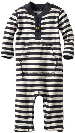 Tea Collection Baby-boys Infant Long Sleeve Henley Romper, Indigo, 0-3 Months