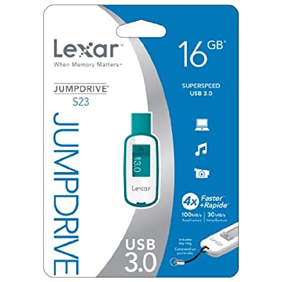 Lexar JumpDrive S23 16GB USB 3.0 Flash Drive LJDS23-16GASBNA (Teal)