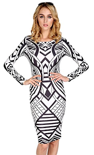 Tp Sky Women'S Vintage Printing Long Sleeve Bodycon Dress S Black White