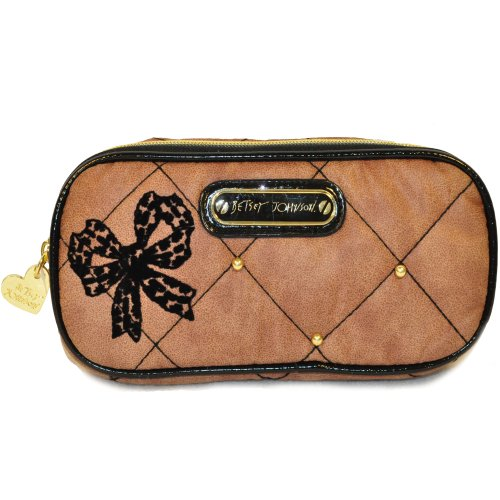 Betsey Johnon High Society Taupe/blk Cosmetic Case Bag