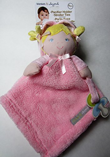 Blankets & Beyond Blond Baby Girl Security Blanket with Pacifier Holder and Stroller Ties - 1
