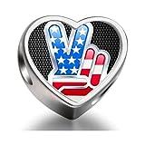 Chrome American V Independence Day theme Heart Photo Charm Beads Fit Pandora Chamilia Biagi beads Charms Bracelet