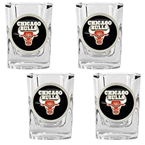 NBA Chicago Bulls Four Piece Square Shot Glass Set by Great American Products