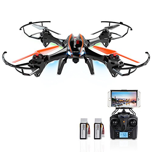 DBPOWER-UDI-U842-Predator-WiFi-FPV-RC-Drone-with-HD-Camera-24GHz-4CH-6-Axis-Gyro-RTF-Quadcopter-with-Low-Voltage-Alarm-Gravity-Induction-and-Headless-Mode-Includes-BONUS-BATTERY