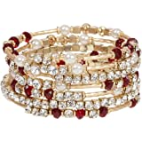 Stunning Gold Tone Wrap Bracelet with Red and Clear Crystals and Faux Pearl Accents