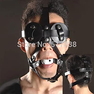Izusa(TM)Men's leather head restraint harness hood open mouth gag ball toy eye patches mask for adult male female sex game women couples