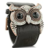 Leather and Crystal Bracelet Owl