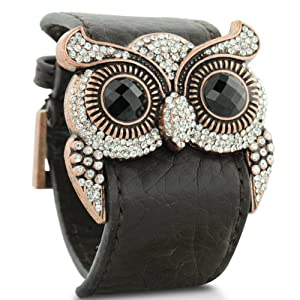 Leather and Crystal Owl Cuff Bracelet