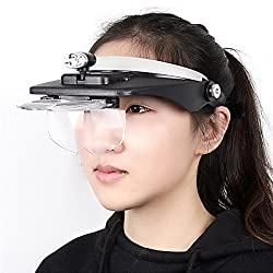 New Head Magnifying glasses with LED 10 Power Magnifier for Reading Optivisor magnifying glass loupes Jewelry Watch Repair 3 lamp