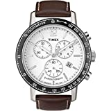 Timex Chronograph White Dial Brown Leather Strap Gents Watch T2N565