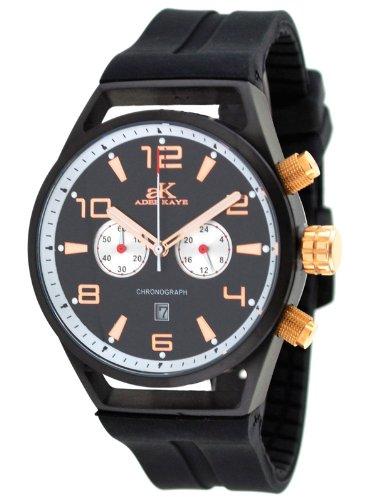 Adee Kaye AK7232-MIPRG Black Ion Plated Chronograph Watch